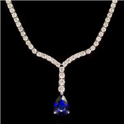 18k Gold 1.87ct Sapphire 4.14ct Diamond Necklace