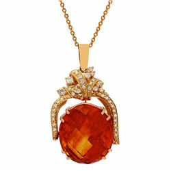 14k Yellow Gold 47.46ct Citrine 1.09ct Diamond Pendant