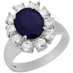 14k White Gold 2.96ct Sapphire 1.23ct Diamond Ring
