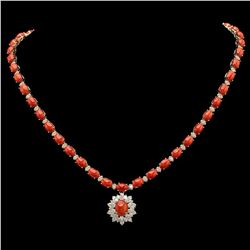 14K Gold 31.07ct Coral & 2.79ct Diamond Necklace