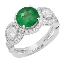 14k White Gold 1.77ct Emerald 1.66ct Diamond Ring
