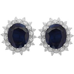 14k White Gold 18.41ct Sapphire 1.36ct Diamond Earrings