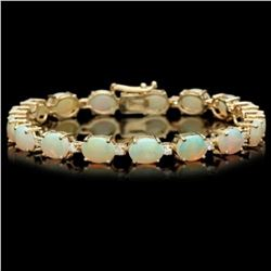 14k Gold 15.13ct Opal 0.79ct Diamond Bracelet