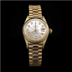 Rolex DateJust 18k Solid Gold Ladies Presidential 26mm WristWatch