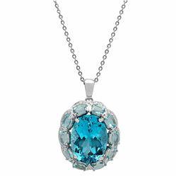 14k White Gold 22.78ct Blue Topaz 13.89ct Aquamarine 0.77ct Diamond Pendant