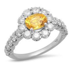 14K White Gold 1.68ct Sapphire and 1.47ct Diamond Ring