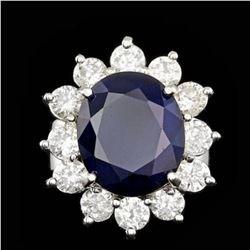 14K White Gold 7.91ct Sapphire and 2.51ct Diamond Ring