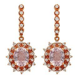14k Rose Gold 7.98ct Kunzite 1.22ct Diamond Earrings