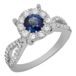 14k White Gold 0.75ct Lab Created Sapphire 0.82ct Diamond Ring