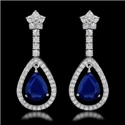 14K White Gold 6.37ct Sapphire and 2.68ct Diamond Earrings