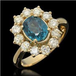 14K Yellow Gold 3.0ct Zircon and 1.24ct Diamond Ring