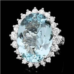 14K White Gold 9.12ct Aquamarine and 1.17ct Diamond Ring