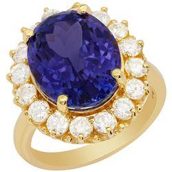 14k Yellow Gold 9.65ct Tanzanite 1.50ct Diamond Ring