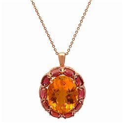 14k Rose Gold 23.75ct Citrine 14.11ct Pink Tourmaline 0.78ct Diamond Pendant