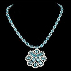 14K White Gold 54.69ct Zircon and 7.73ct Diamond Necklace