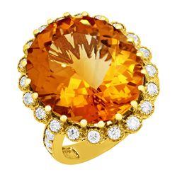 14k Yellow Gold 16.12ct Citrine 1.08ct Diamond Ring