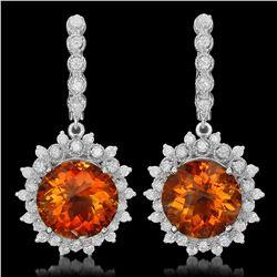 14K Gold 12.92ct Citrine 2.10ct Diamond Earrings