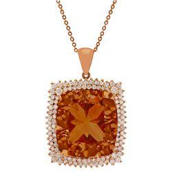 14k Rose Gold 56.94ct Morganite 4.21ct Diamond Pendant
