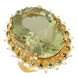 14k Yellow Gold 30.72ct Green Amethyst 0.34ct & 0.53ct Diamond Ring
