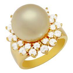 14k White Gold 13mm Pearl 1.80ct Diamond Ring