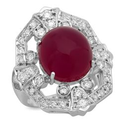 14K White Gold 14.68ct Ruby and 1.10ct Diamond Ring
