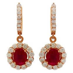 14k Rose Gold 2.79ct Ruby 2.05ct Diamond Earrings