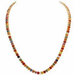 14k Yellow Gold 42.00ct Sapphire 1.00ct Diamond Necklace