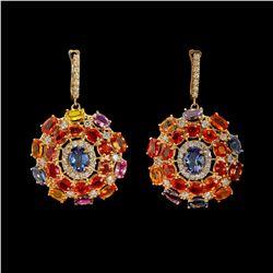 14K Gold 1.70ct Tanzanite 24.74ct Sapphire 1.78ct Diamond Earrings