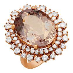 14k Rose Gold 11.61ct Kunzite 1.94ct Diamond Ring