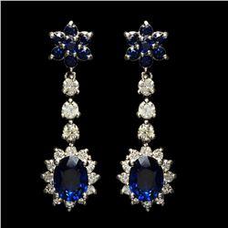 14k White Gold 3.28ct Sapphire 1.50ct Diamond Earrings