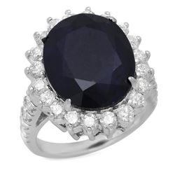 14K White Gold 11.40ct Sapphire and 1.77ct Diamond Ring