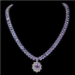14K White Gold 71.93ct Tanzanite and 0.72ct Diamond Necklace