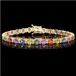 14K Gold 11.69ct Sapphire 1.36ct Diamond Bracelet