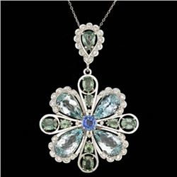 14K Gold 20.11ct Aquamarine 3.52ct Sapphire 1.49ct Diamond Pendant