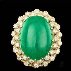 14K Yellow Gold 13.47ct Jadeite and 1.28ct Diamond Ring