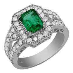 14k White Gold 1.20ct Emerald 1.18ct Diamond Ring