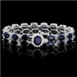 14K Gold 53.64ct Sapphire 0.63ct Diamond Bracelet