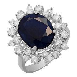 14k White Gold 6.17ct Sapphire 1.02ct Diamond Ring