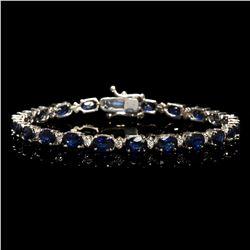 14k White Gold 12.37ct Sapphire 0.54ct Diamond Bracelet