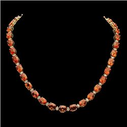 14K Gold 60.33ct Citrine Diamond Necklace