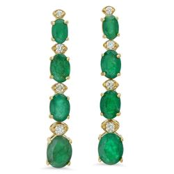 14K Gold 5.81ct Emerald 0.28 Diamond Earrings