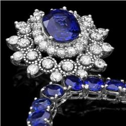 14K White Gold 43.87ct Sapphire and 1.62ct Diamond Necklace