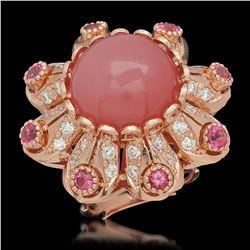 14K Rose Gold 15.37ct Rose Quartz 1.21ct Sapphire and 1.46ct Diamond Ring