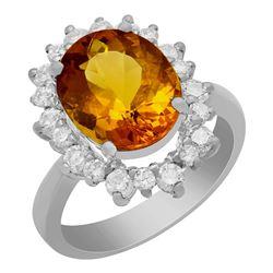 14k White Gold 4.10ct Yellow Beryl 0.97ct Diamond Ring