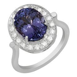 14k White Gold 5.61ct Tanzanite 0,32ct Diamond Ring