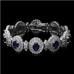 14K White Gold 21.90ct Sapphire and 12.55ct Diamond Bracelet