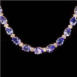 14k Gold 26.60ct Tanzanite 1.77ct Diamond Necklace