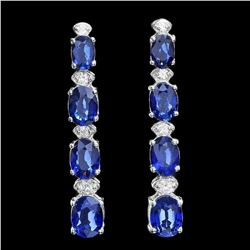 14K White Gold 6.88ct Sapphire and 0.37ct Diamond Earrings