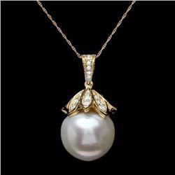 14K Gold 17mm Pearl 1.22ct Diamond Pendant