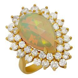 14k Yellow Gold 4.48ct Opal 2.59ct Diamond Ring